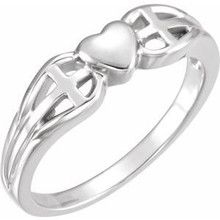 Let your faith be the center of your life, as this symbolic sterling silver ring implies. Heart & Cross Ring In Sterling Silver. Polished to a brilliant shine.