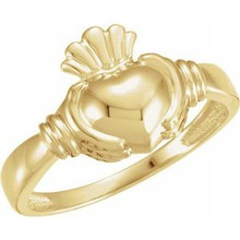 A token of loyalty, friendship and love. This traditional Claddagh ring is set in polished 14k gold.
