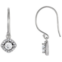 Take her breath away with these diamond halo-styled dangle earrings with a cushion frame. Fashioned in 14K white gold, each earring showcases a 4.00mm round full cut diamond and boasting a color rank of G-H and clarity of I1.