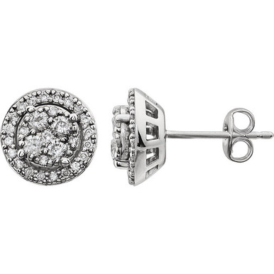 Classic and elegant, these diamond fashion earrings take any look to another level. Crafted in 14K white gold, each earring design features a cluster of diamonds at its center. A halo frame of accent diamonds surrounds the center clusters, wrapping them in a sparkling embrace. Radiant with 1/2 ct. t.w. of diamonds and a bright polished shine, these post earrings secure with friction backs.