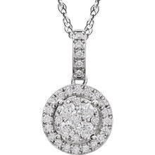 Classic and elegant, this diamond fashion pendant elevates any attire. Crafted in 14K white gold, this pendant features a round center diamond bordered with a double frame of smaller round accent diamonds. A fabulous traditional look, this pendant captivates with 1/2 ct. t.w. of diamonds and a polished shine. The pendant glides freely along an 18.0-inch chain.