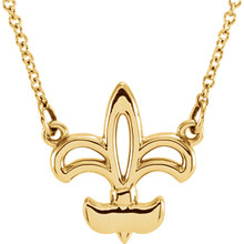 Fleur-De-Lis Necklace In 14K Yellow Gold. The trim measures 14mm and comes with a 16.00 inch 14K yellow gold solid cable chain.