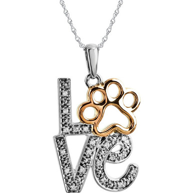 "The stacked letters of ""LOVE"" are featured on this dazzling pendant with diamond accents. A yellow gold-plated paw print replaces the ""O"" for animal-loving humor."