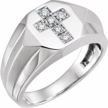 Faith plays an important role is his everyday life. Honor his connection to religion by surprising him with a magnificent ring. Total carat weight 1/3. Diamonds are H-J in color and I1-SI2 in clarity. Polished to a brilliant shine.