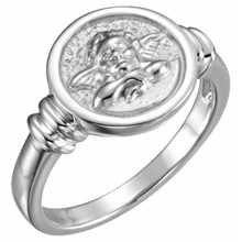 With a charming guardian angel to watch over you, this ring is a beautiful, comforting addition to any outfit.