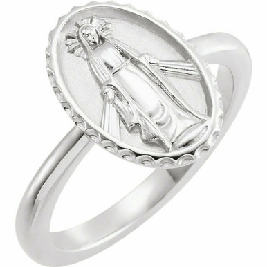 This 14k white gold symbolic ring features an oval miraculous medal. Fits a size 7 finger.