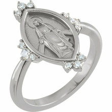 This sterling silver symbolic ring features 12 brilliant diamond accents and an oval miraculous medal. Fits a size 7 finger.