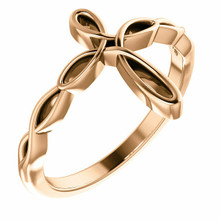 This lovely ring for her features a cross design styled in 14K rose gold.