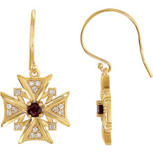 Treat the woman of faith to these dazzling vintage-inspired cross dangle earrings. Expertly crafted in 14K yellow gold, each dangle features garnet mozambique stones & diamonds, a brilliant expression of her beliefs.