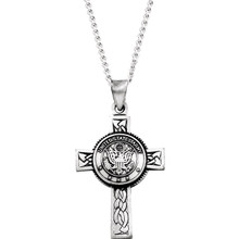 "Show your support of our troops, our freedoms and your faith with this beautiful 24"" cross necklace. This cross features a center medal displaying the US Army."