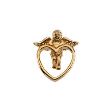 Angel Lapel Pin In 14K Yellow Gold measures 16.50x14.50mm and has a bright polish to shine.