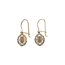 "These tri-color, marquise-shaped earrings of our Lady of Guadalupe measure approximately 1"" in length.  They feature a rose gold image of the Virgin Mother, surrounded with the white sunburst design and bordered with yellow gold.  Their outer frame an open-work design."