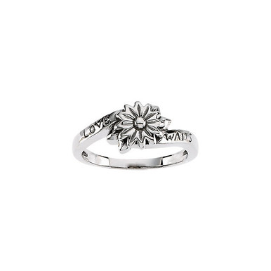 This ring is made of sterling silver, 10K or 14K Gold and features a flower in the center with Love on one side and Waits on the other side of the band.