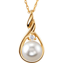 Product Specifications  Quality: 14K Yellow Gold  Total Carat Weight: .03  Size: 07.00 MM  Jewelry State: Complete With Stone  Stone Type: Cultured Pearl  Stone Shape: Round  Stone Quality: AA  Weight: 1.90 grams  Finished State: Polished