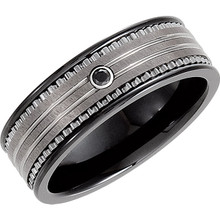 Product Specifications  Brand: Dura Tungsten  Quality: Ceramic & Tungsten  Jewelry State: Complete With Stone  Stone Type: Diamond  Stone Shape: Round  Stone Size: 1.90 mm  Stone Color: Black  Ring Width: 08.30 mm  Surface Finish: Black