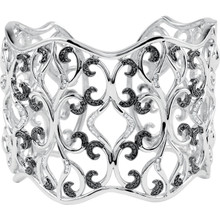 Black & White Diamond Cuff Bracelet In Sterling Silver measures 54.20mm in width. Radiant with 1 1/3 ct. tw. genuine diamonds and has a bright polish to shine.