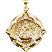This Caridad Del Cobre hollow back medal is all 14k yellow gold. The beautifuly crafted scalloped boarder adds to this very detailed medal.