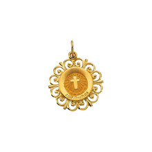 This Confirmation Medal measures 20x18.50mm, approximately 3/4-inch round. Made of 14K Yellow Gold, this piece features a weight of 1.48 grams and has a bright polish to shine.