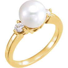 Akoya Cultured Pearl & 1/4 ctw Diamond Ring In 14K White Gold