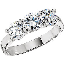 Cubic Zirconia Three Stone Ring In Sterling Silver