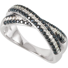 This Genuine Black and White Diamond Anniversary Ring is styled in 14K white gold. It is polished to a showroom finish and features a 5/8 carat total weight of round cut diamonds. Dazzle her with this ring to mark your journey together.