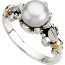 Crafted in sterling silver & 14k yellow gold, this ring features an 8-9mm round freshwater cultured pearl.