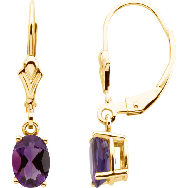 14k yellow gold jewelry,14k yellow gold earrins Natural Amethyst gemstones set in solid 14K yellow gold earrings for Women