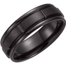 Product Specifications  Quality: Black Titanium  Style: Men's Wedding Band  Ring Sizes 8-13 ( Whole and Half Sizes )  Width: 7 mm  Finish State: Polished