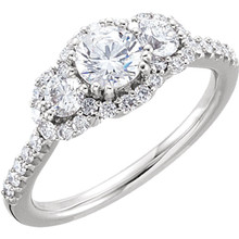 Three-Stone Engagement Ring In 14K White Gold (1 ct. tw.)