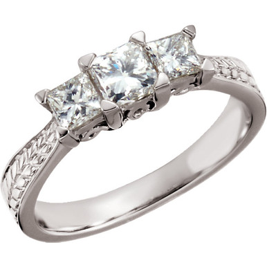 Product Specification  Quality: 14K White Gold  Jewelry State: Complete With Stone  Ring Size: 06.00  Stone Type: Diamond  Center stone size: 4.20 X 4.20mm  Stone Shape: Princess  Stone Color: G-I  Stone Clarity: SI  Weight: 3.58 grams  Finished State: Polished