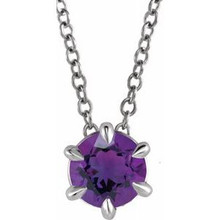 Crafted in sterling silver, this jewelry has a polished finish for eye-catching design. The necklace features a charming Amethyst gemstone to complete the look.
