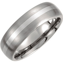 Product Specifications  Quality: Titanium & Sterling Silver  Style: Men's Wedding Band  Ring Sizes: 8-13 ( Whole & Half Sizes )  Width: 7mm  Surface Finish: Satin/Polished
