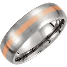 Product Specifications  Quality: Titanium & 14kt Rose Gold  Style: Men's Wedding Band  Ring Sizes: 8-13.00 ( Whole & Half Sizes )  Width: 7mm  Surface Finish: Satin
