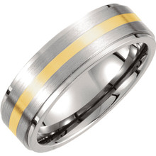 Product Specifications  Quality: Titanium & 14K Yellow Gold  Style: Men's Wedding Band  Ring Sizes: 8-13 ( Whole & Half Sizes )  Width: 7mm  Surface Finish: Satin & Polished