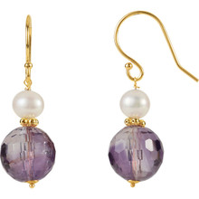 These elegant and feminine 10mm freshwater cultured pearl & amethyst earrings are a beautiful accent to any style! These earrings are set in 14k yellow gold and has a bright polish to shine.