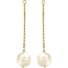 These elegant 14k yellow gold earring jackets each feature a 9-11mm freshwater cultured pearl in a classic design. Polished to a brilliant shine.
