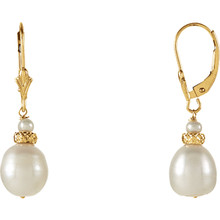 This glamorous pair of 9-9.5mm white freshwater cultured pearl earrings are a must have and are a perfect compliment to your everyday styles! These earrings are set with 14k yellow gold. Polished to a brilliant shine.
