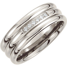 Product Specifications  Quality: Titanium  Style: Men's Wedding Band  Jewelry State: Complete With Stone  Total Carat Weight: 1/10  Stone Type: Diamond  Stone Shape: Round  Ring Sizes: 8-11.50 ( Whole & Half Sizes )  Width: 8mm  Surface Finish: Polished
