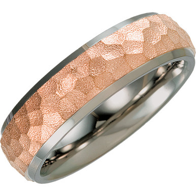 Product Specifications  Quality: Titanium & Rose Immerse Plated  Style: Men's Wedding Band  Ring Sizes: 7-13.00 ( Whole & Half Sizes )  Width: 7mm  Surface Finish: Polished