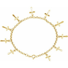 As much an expression of faith as it is fashion, this cross bracelet is a lovely look for her. Crafted in 14K yellow gold, this chain bracelet is stationed with 10 beautiful crosses. Polished to a brilliant shine, this 7.0-inch bracelet secures with a claw clasp.