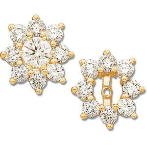 These stunning 14k yellow gold earrings each feature 16 round cut genuine diamonds. Diamonds are 1 1/5ctw, G-H in color, and I1 or better in clarity. Polished to a brilliant shine. Studs not included.