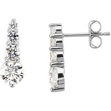 Cascading Diamonds Increasing In Size Create a Dazzling Look in These Amazing Diamond Journey Earrings In Platinum.