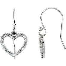 These unique and stylish diamond heart drop earrings feature 44 brilliant-cut round diamonds beautifully set in a sparkling prong setting.