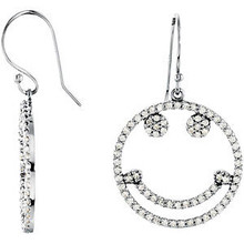An animated smiley face depicts a carefree spirit and is an uplifting reminder to enjoy every day to its fullest potential. Presented in 14k white gold and dangling from a 22-gauge ear wire is a 3/4 inch sparkling pendant prong set with 148 full cut round diamonds. Hanging length is approximately 1-1/2 inch. Total diamond weight for the pair is 5/8 carat.
