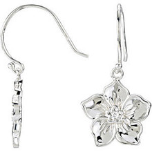 """A single, full-cut diamond adorns the center of each of these lovely, forget me not earrings. The combined stone weight is 0.03 carat.  These dangle earrings measure an approximate 1-1/8"""" length and are available in either high-polished 14K yellow or white gold."""
