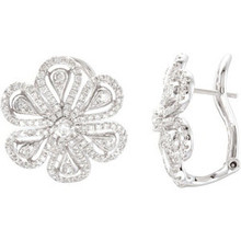 Be amazing. You'll feel nothing but confidence as you strut through the party in these diamond flower earrings. These earrings have a bright outlook and will sparkle as you tango under the spotlights. Imagine how many dresses will look out-of-this-world beautiful by simply slipping on these studs.      254 diamonds.     Strong craftsmanship for durability.  Shines bright. These earrings will always gather attention with their 254 diamonds. The diamonds have a very good cut, H-I color, I1 clarity rating and a 1.25 ct. tw.