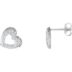 Fashioned in 14K White Gold, each diamond heart earring features shimmering round diamonds with 1/4 ct. tw. Polished to a brilliant shine, these post earrings secure with friction backs.