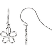 Fun, fresh and flirty, these freeform flower french wire earrings will give any look a contemporary update. Crafted in brightly polished sterling silver, the modern design of these swirling flowers is made even more brilliant by the addition of shimmering diamond accents right at the center. Polished to a brilliant shine, these drops suspend freely from French wires.