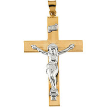 Crucifix pendant in 14K yellow/white Gold has an elegant yet substantial design and measures 45.00x29.00mm. Polished to a brilliant shine.