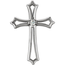 A divine symbol of faith, this perfectly cross pendant is crafted in 14K gold. Diamonds are .015 ct. tw., G-H in color, and SI1 in clarity. Polished to a brilliant shine.